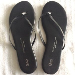 Gap Black Leather Flip Flop Thong Strap Sandals